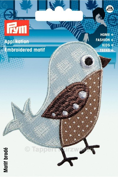 Prym Applikation Vogel beige/bleu