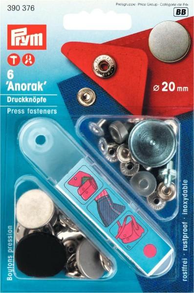 Prym Druckknöpfe Anorak Flach 20 mm, 6 Stück