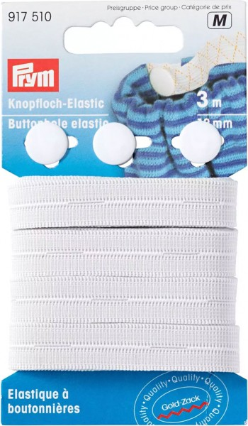 Prym Knopfloch-Elastic mit 3 Knöpfen 12 mm, 3 m