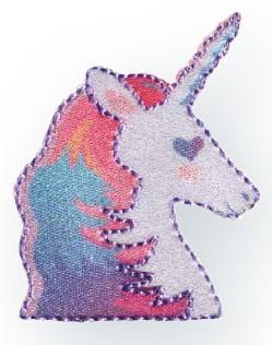 Prym Applikation Einhorn / Unicorn Kopf pink/violett