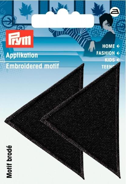 Prym Applikationen Dreiecke groß schwarz, 2 Stück