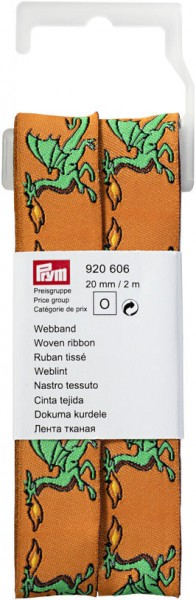 Prym Webband Drache orange/grün 20 mm, 2 m