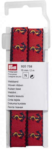 Prym Webband Anker rot/blau 15 mm, 2 m