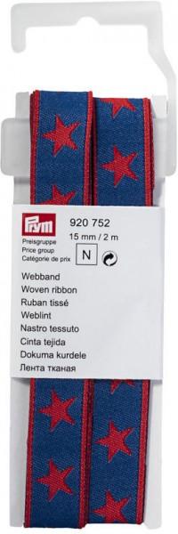Prym Webband Sterne blau/rot 15 mm, 2 m