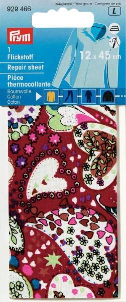 Prym Flickstoff Baumwolle rot/bunt Herz 12 x 45 cm
