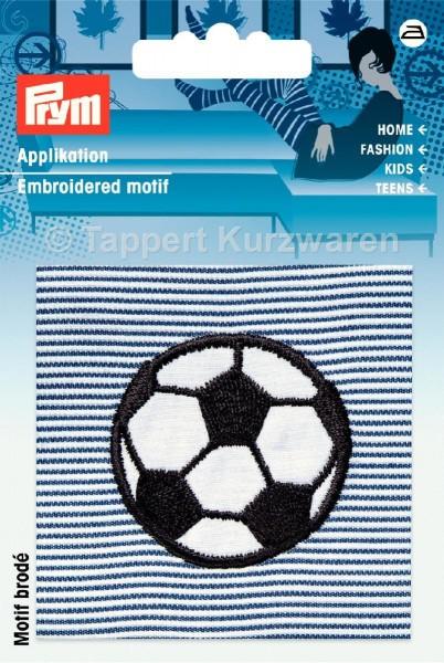 Prym Applikation Fussball auf blau/weißem Stoff