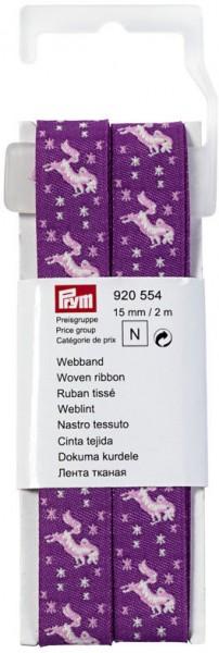 Prym Webband Einhorn lila/pink 15 mm, 2 m