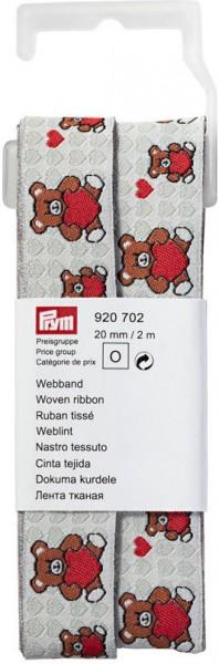 Prym Webband Teddy mit Herz grau/rot 20 mm, 2 m