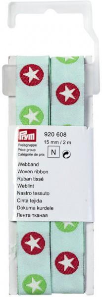 Prym Webband Sterne grün/rot 15 mm, 2 m