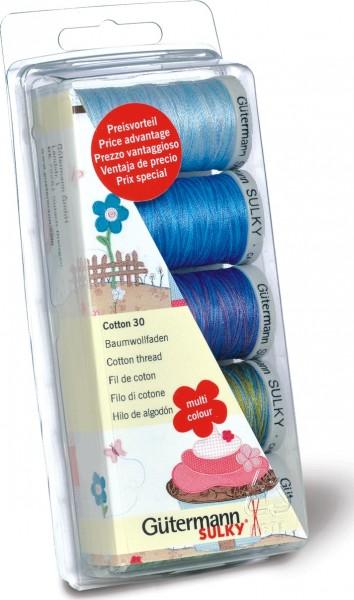 Gütermann Maschinenstickfaden-Set Sulky Cotton 30 blau/grün, 5 x 300 m