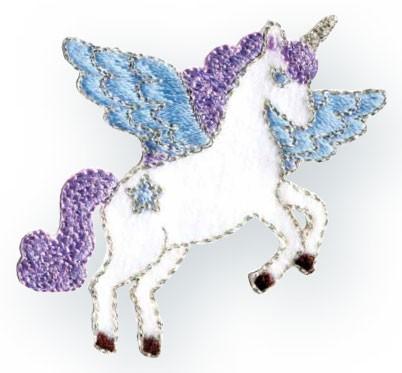 Prym Applikation Einhorn / Unicorn weiß/violett/blau
