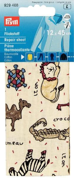 Prym Flickstoff Baumwolle beige/bunt Tiere 12 x 45 cm