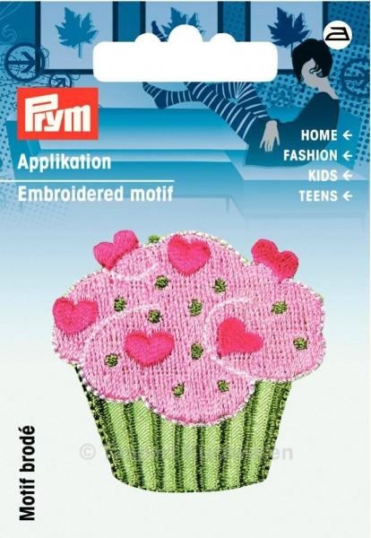 Prym Applikation Cupcake mit Herzen rosa/grün