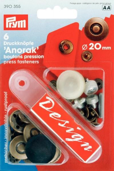 Prym Druckknöpfe Anorak Reifen 20 mm, 6 Stück