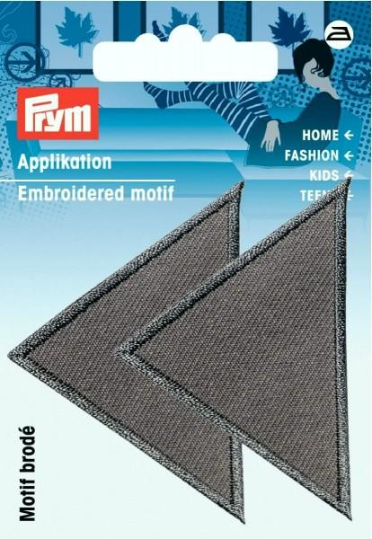 Prym Applikationen Dreiecke groß grau, 2 Stück