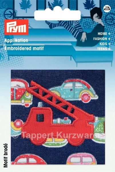 Prym Applikation Feuerwehrauto auf blauem/buntem Stoff